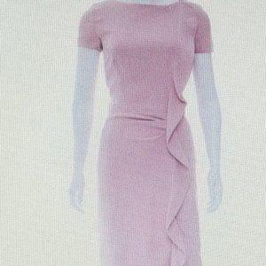 Dusty Rose Ruffle- Trim Cocktail Dress